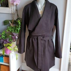 Fashion Nova black open coat with belt, 3X